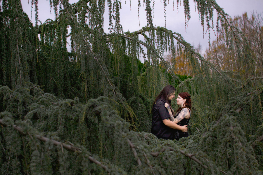 couple poses for engagement photos with markow photography surrounded by trees at grounds for sculpture in hamilton nj