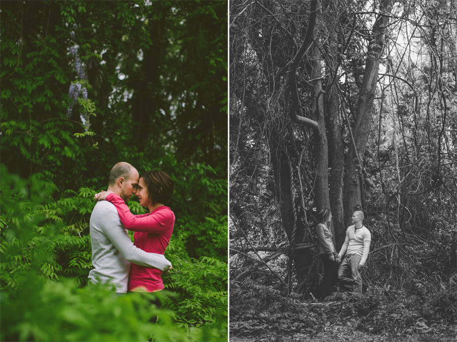 couple embraces by a tree at the manasquan reservoir during their engagement photo session with their monmouth county nj wedding photographers julianne and steven of markow photography
