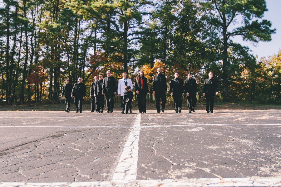 wedding photo of groom with groomsmen