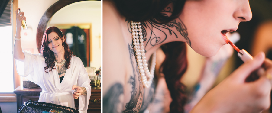 heavily tattooed bride putting on make up by nj wedding photographers the markows