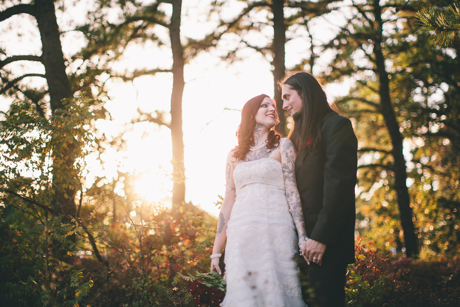 tattooed couple wedding portraits