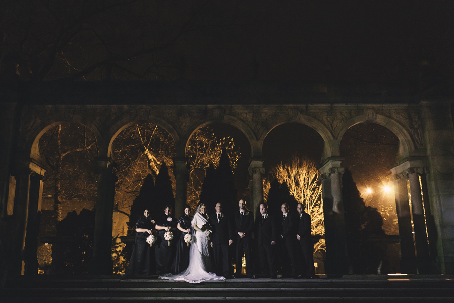 bridal party photo at night