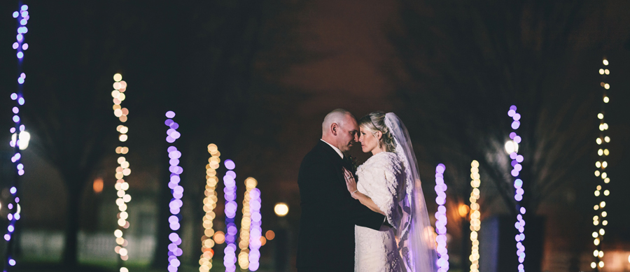 night time wedding photos at monmouth university