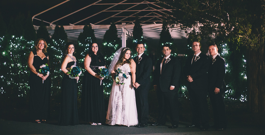 bridal party at night