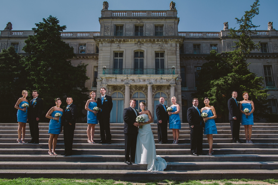 creative bridal party photo at monmouth university