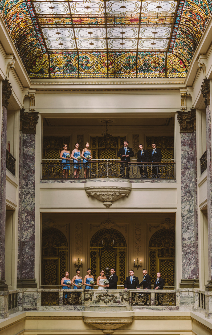 wilson hall monmouth university bridal party photo
