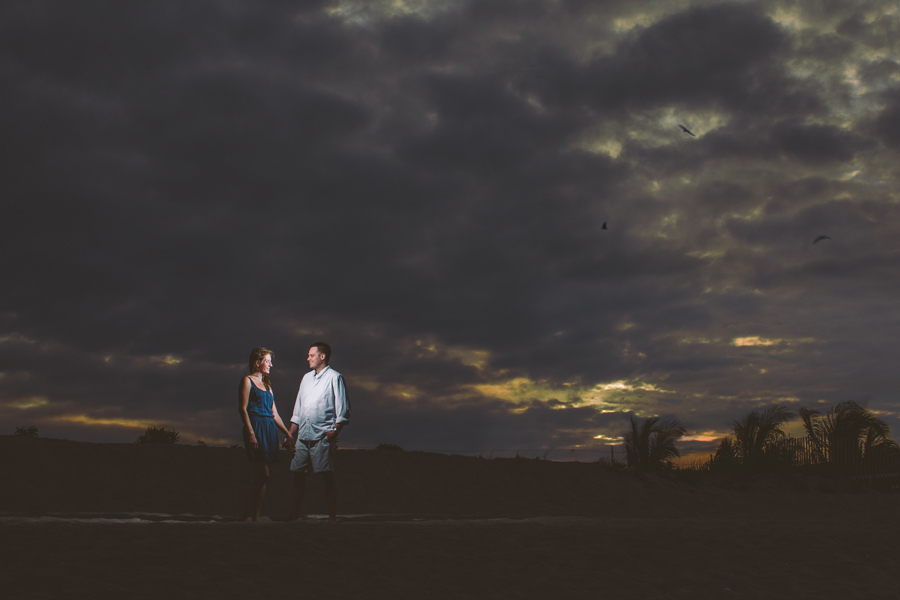 dramatic engagement photo on beach in nj