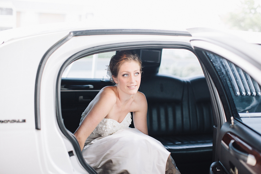 bride getting out of limo