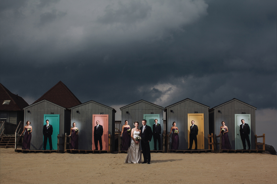 bridal party photo on beach