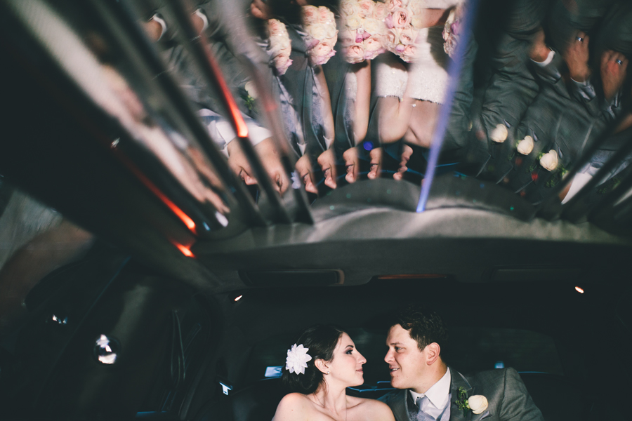 wedding photos in limo