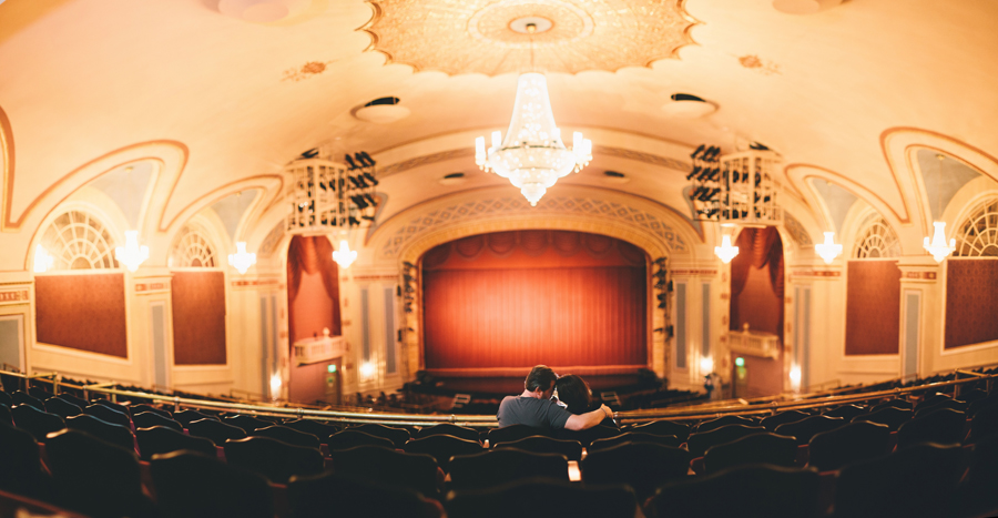 couple love photos inside the strand theatre