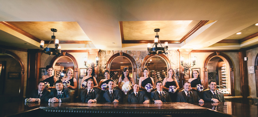 bridal party in wine cellar at crystal springs nj