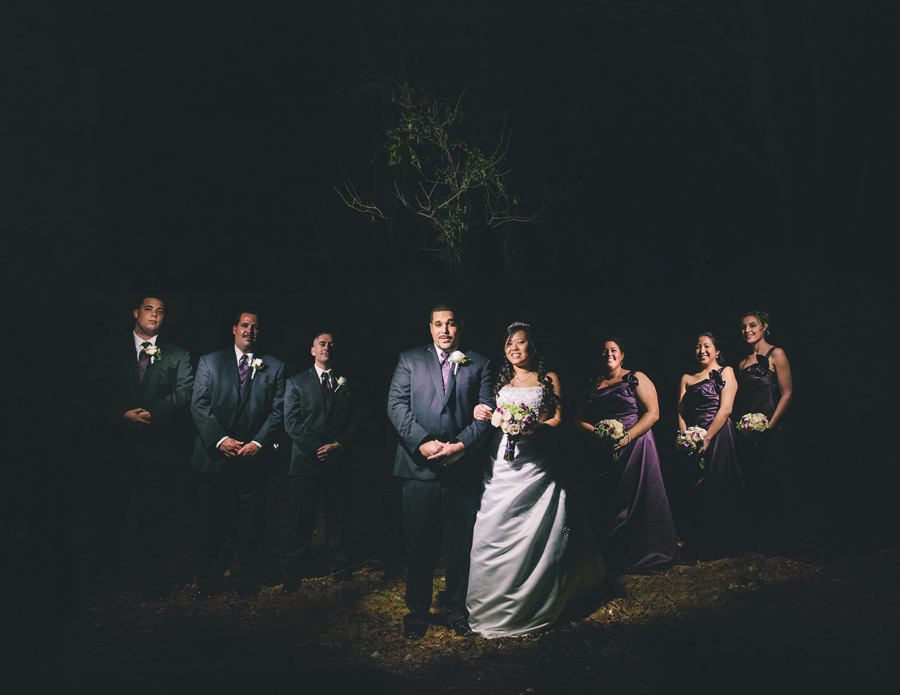 bridal party photo at night nj