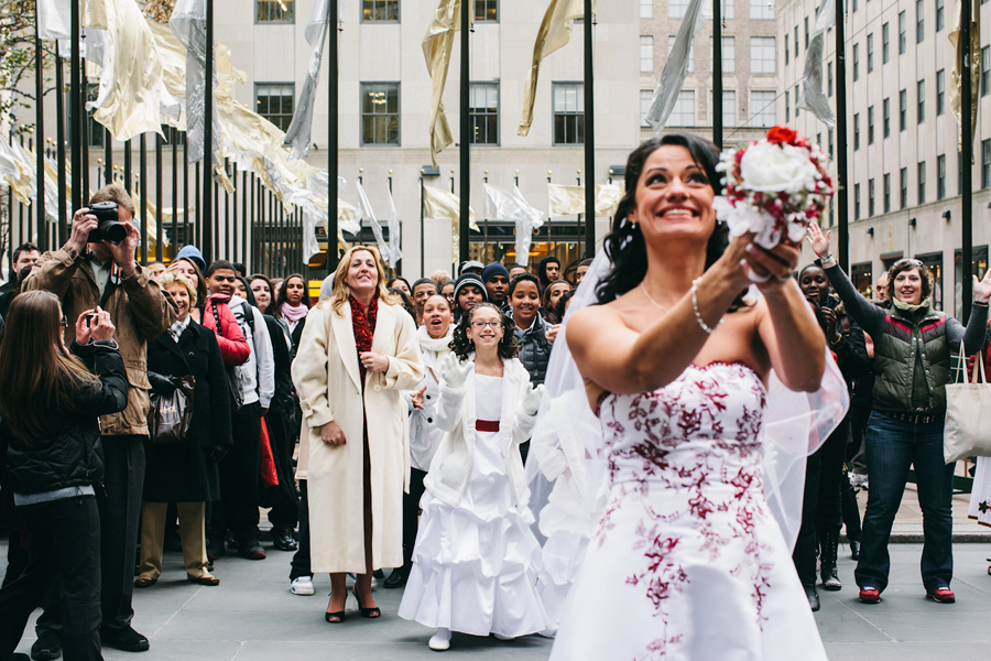 NYC Rockefeller Bouquet toss
