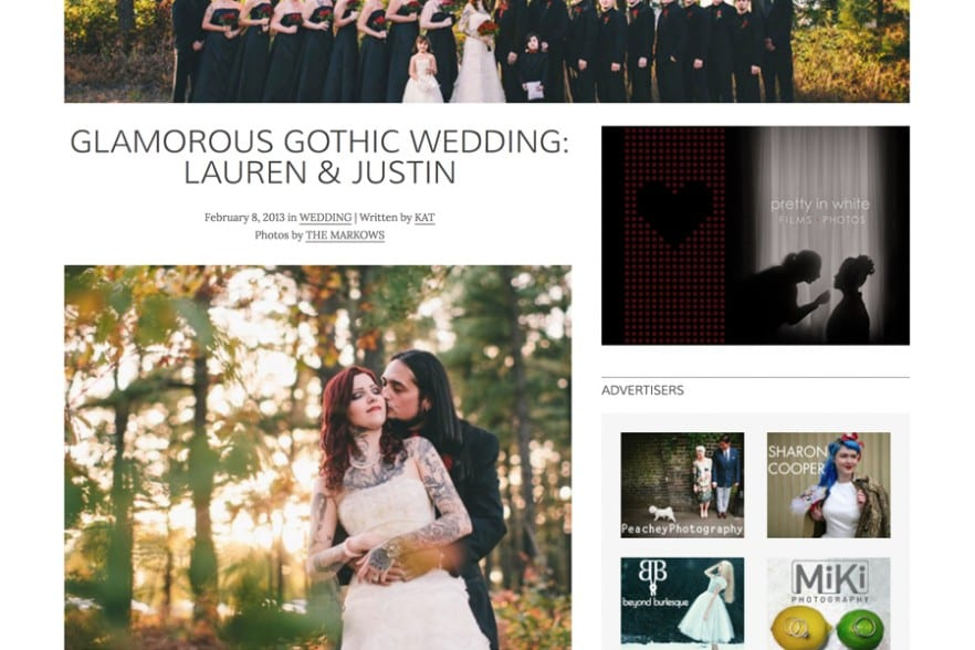 tattooed bride gothic wedding featured on Rock n