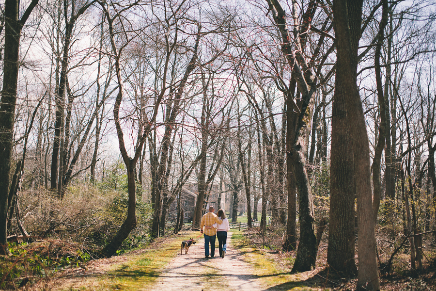 couple walking with dog in nj