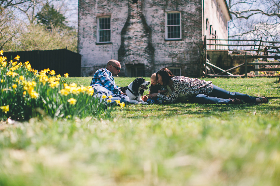 family lying in grass with dog and flowers
