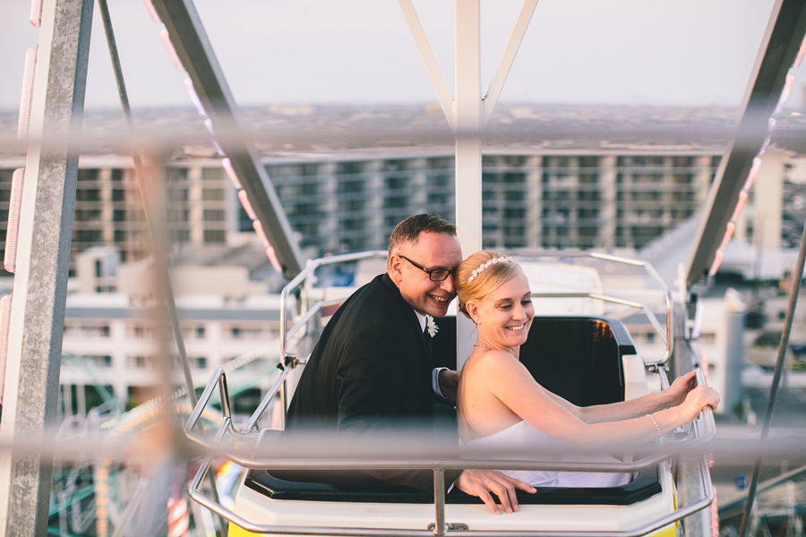 Wedding Photos On Ferris Wheel in Ocean City, NJ
