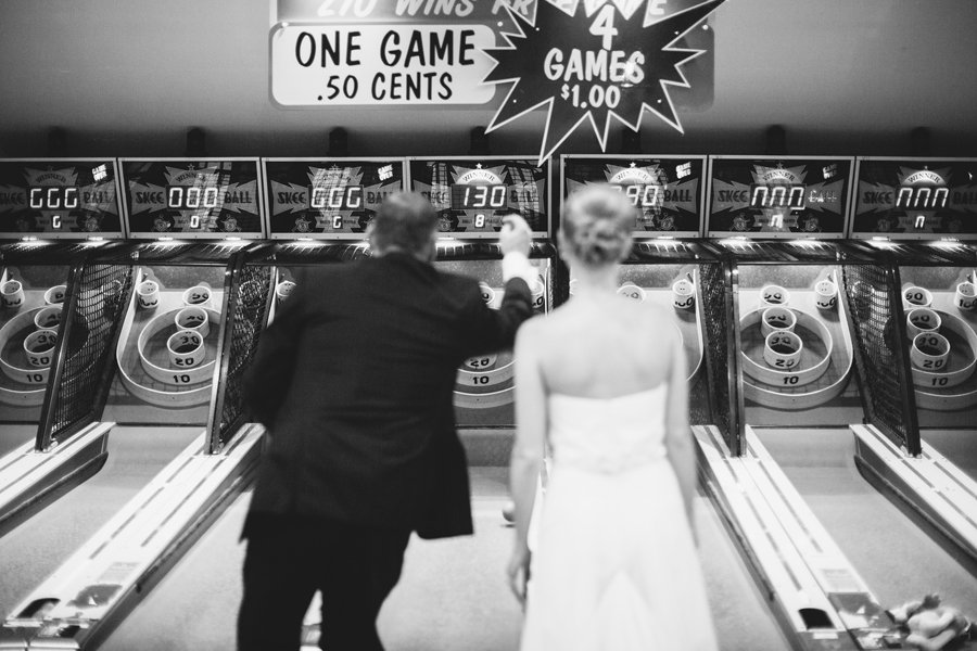 NJ Wedding Photos in an Arcade