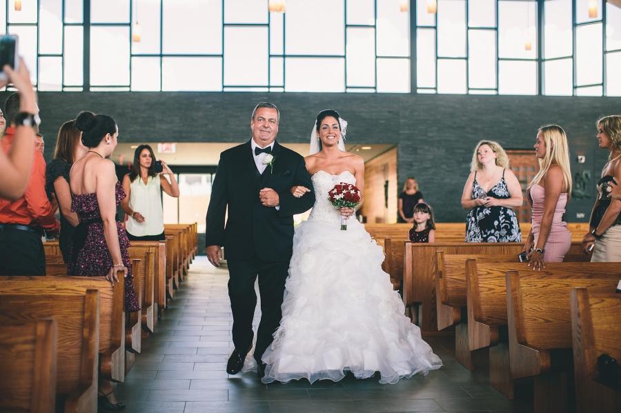 Bride walking up aisle st. aloysius jackson, nj
