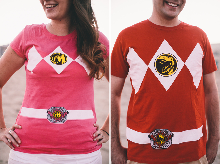 Powers Rangers Shirts at Engagement Session