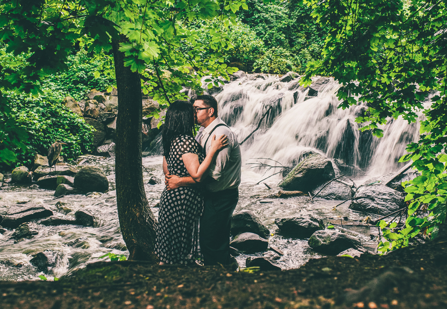 Clove Lakes Park Waterfall Engagement Photos