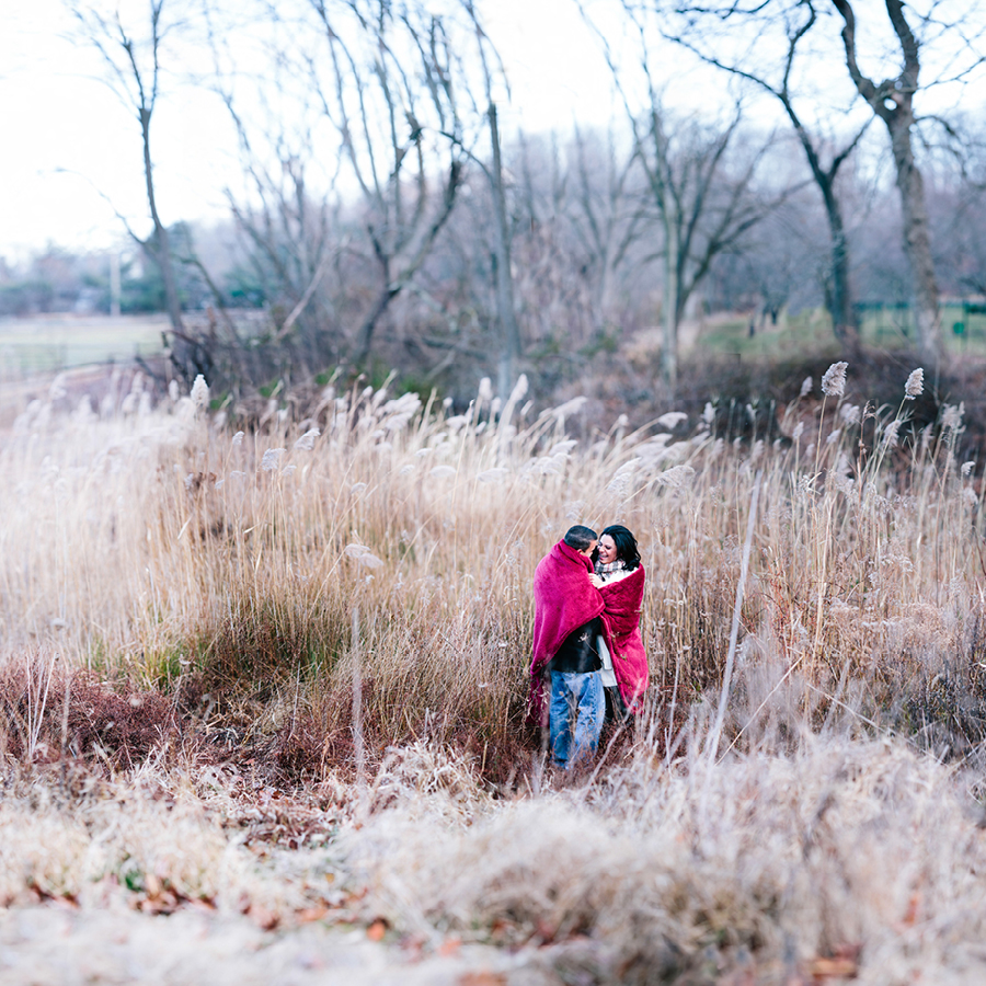 Holmdel Park Winter Engagement Photos