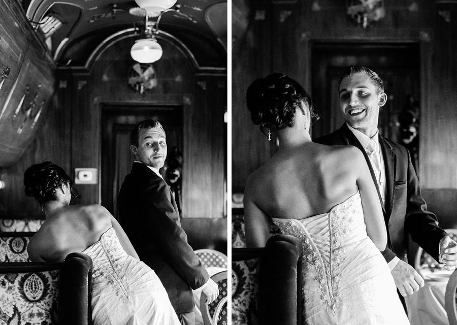 Madison Hotel Wedding first look in rail car
