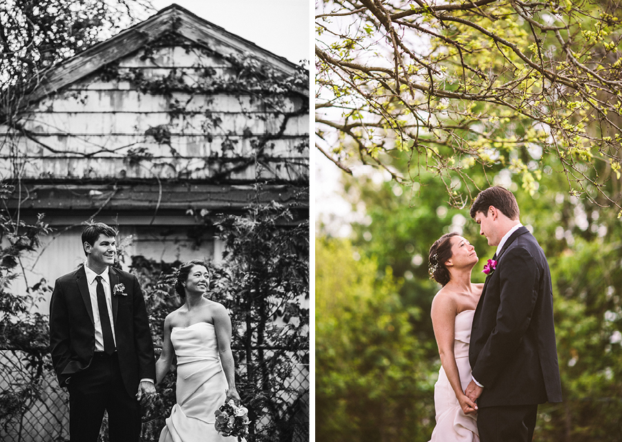 wedding portraits in backyard
