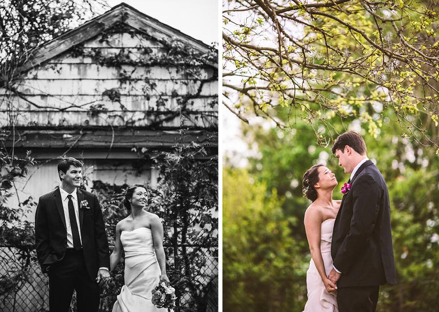 wedding portraits in backyard