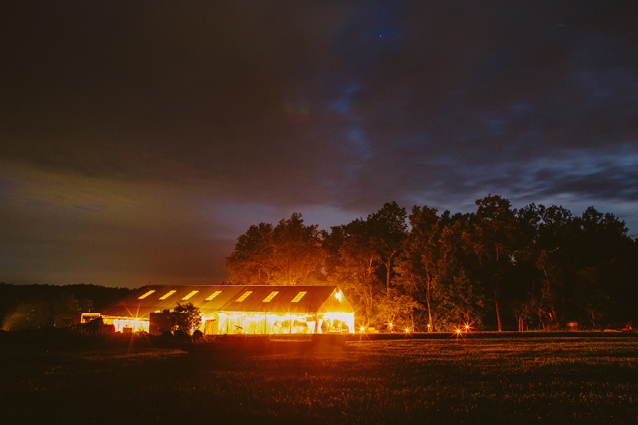 Fiddle lake farm at night