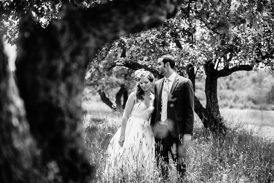 Black and white farm wedding portrait
