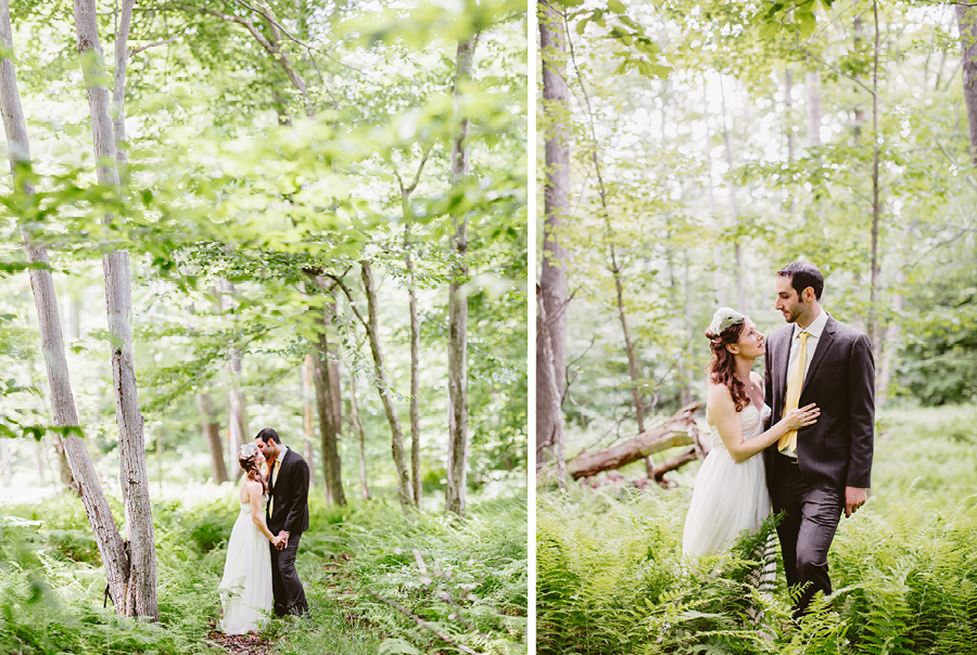 Wedding portraits in woods