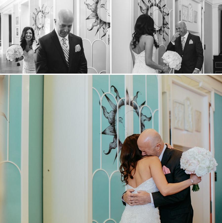Bride seeing father philadelphia wedding photographers